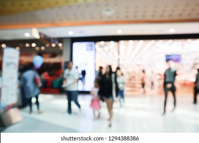 Abstract blur shopping mall store interior for background.
