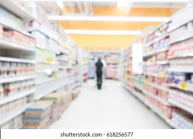 Abstract blur shopping mall and supermarket interior for background