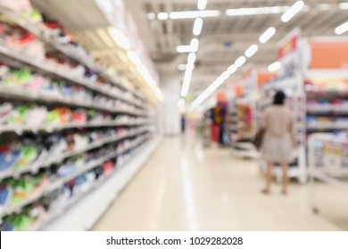 Abstract blur sport shoes on shelves in sneakers shop store background