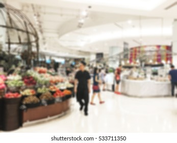 Abstract blur supermarket and shopping mall in retail store interior for background