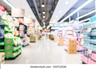 Abstract blur supermarket and shopping mall in retail sotre interior for background