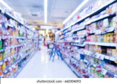 Abstract blur supermarket for shopping mall in derparment store interior for background