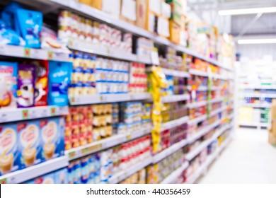 Abstract blur supermarket store interior background.
