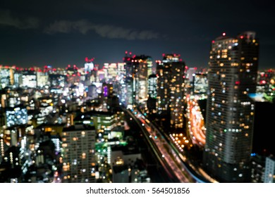 Abstract Blur Tokyo City Skyline at Night