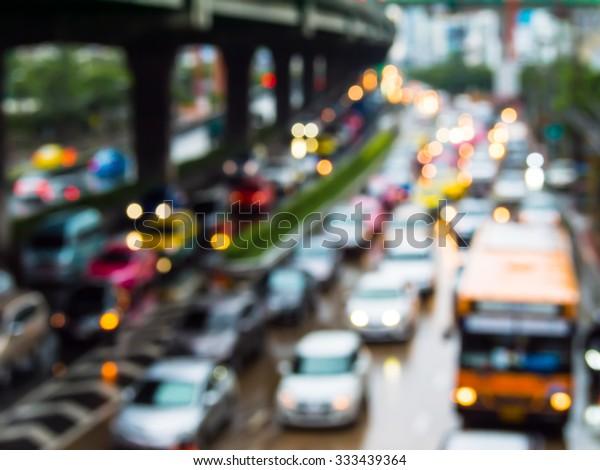 Abstract blur traffic jam in bangkok thailand.
