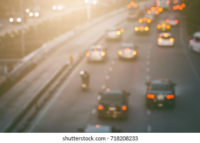 Abstract blur of traffic jam in the city Bangkok Thailand background