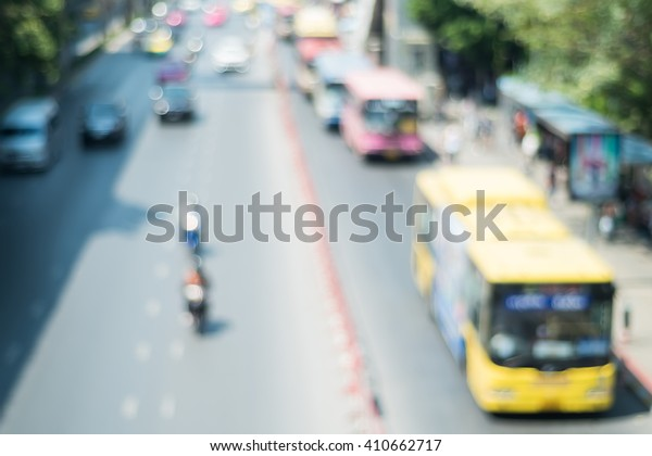 Abstract blur of traffic on road city