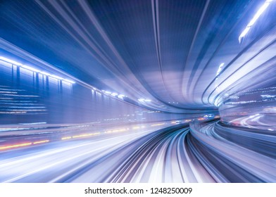 Abstract blur of train running on tunnel