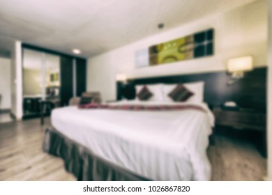 Abstract blur and vintage tone bedroom interior and decoration for background