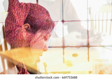 Abstract blured of double exposure of asian long hair young beautiful lady use smart phone