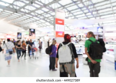Abstract Blurred background : airport shopping tax free area