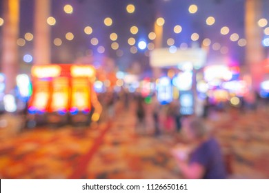 Abstract Blurred background of Casino in city in Nevada USA