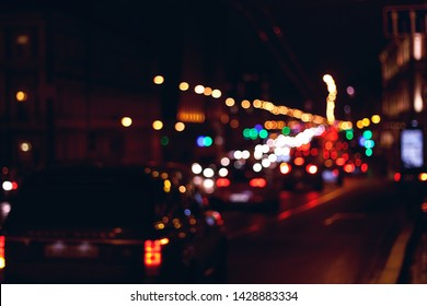 abstract blurred background of a city road at night