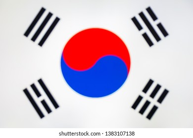 abstract blurred background color of the national flag of South Korea, Patriotic background