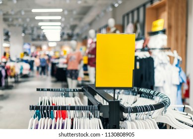 Abstract blurred background of Department store.  Blank price board with store. Blank board with blur store for background