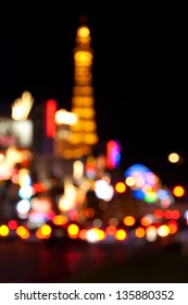 Abstract blurred background of Eiffel tower on Las Vegas Strip