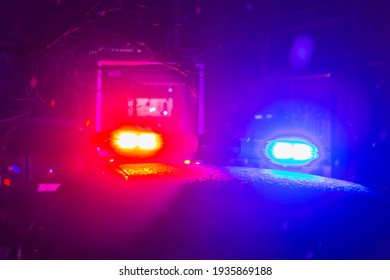 Abstract blurred background with flasher in the dark. Special signals of emergency services. Accident concept. Copyspace for text or inscription