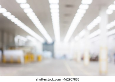 Abstract blurred background image of factory and warehouse.