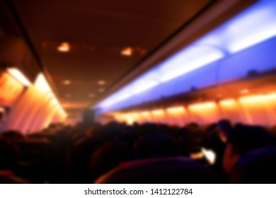 Abstract Blurred background Inside airplanes interior night view.