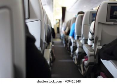 Abstract Blurred background Inside airplanes interior view