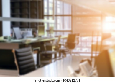 Abstract blurred background of modern office interior