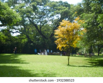 Abstract blurred background of park with people sitting and relaxing.