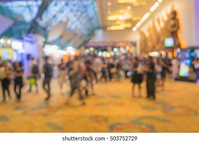 Abstract blurred background of people in book expo