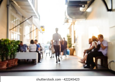 Abstract blurred background : People are eating at a restaurant.