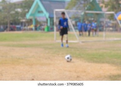 Abstract blurred background of playing football warm up before match