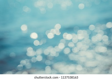 Abstract blurred background with reflected light and boke on the sea.