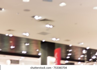 Abstract blurred background. Shops in the shopping center.