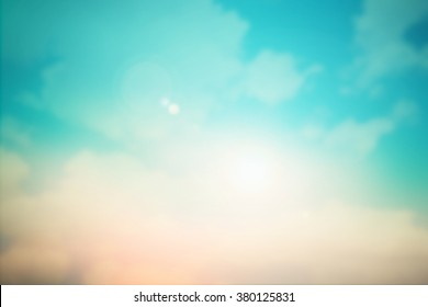 abstract blurred beautiful natural sky clouds texture with sunshine colorful pastel tone landscape background concept.