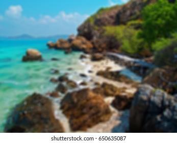 Abstract blurred beautiful seaside with wood bridge