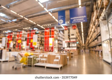 Abstract blurred big modern home decor warehouse background