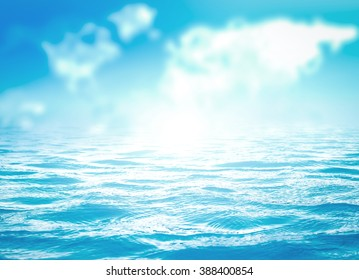 Abstract blurred blue sea and world map of clouds texture surface background.