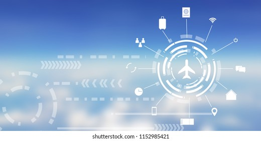abstract blurred blue sky and white cloud from window seat airplane background with virtual air transportation business and travel icon concept