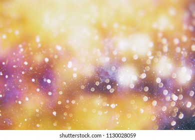 Abstract Blurred Bokeh Holiday Backdrop. Blinking Garland. Christmas Lights Twinkling