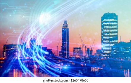 Abstract blurred business background of skyscrapers and IT