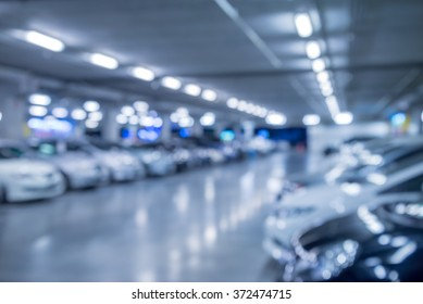 Abstract blurred car in parking background - Color tone effect