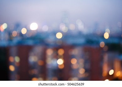 Abstract blurred city lights background, twilight time