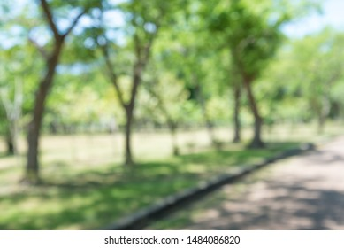 Abstract blurred city park in sunny day bokeh background - Green environmental, save the earth concept