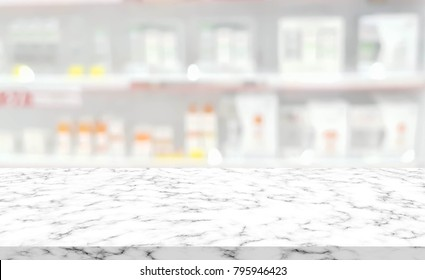 abstract blurred clean pharmacy drug store shelf with medicine for shopping with white marble texture plain for ads,promote product on display