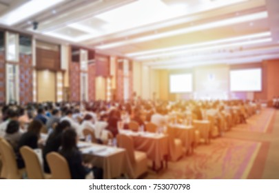 Abstract blurred conference room or seminar room with attendee, business conference room, Audience at the conference hall