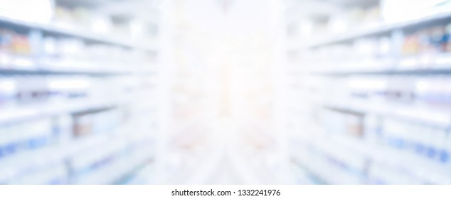 abstract blurred corridor of drug store pharmacy product background concept