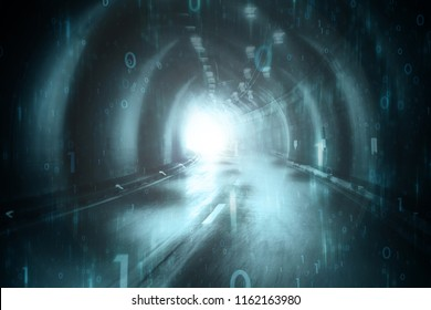 Abstract blurred cyan blue colored tunnel with computer binary numbers background.