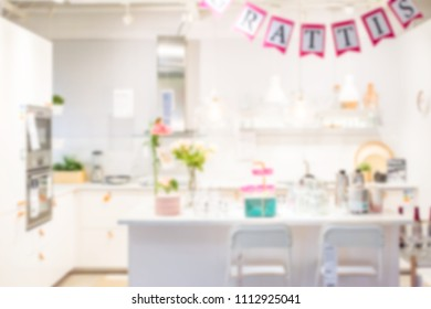 Abstract blurred and defocused kitchen interior for background usage
