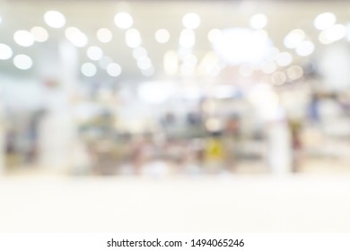 Abstract blurred defocused shopping mall or department store interior background.