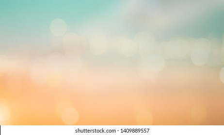 abstract blurred double exposure beautiful natural sky landscape and light bokeh bulb background for design concept