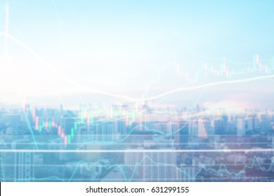 Abstract blurred double exposure of stock graph market exchange data board with light and soft color gradient background concept.