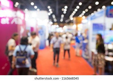 Abstract blurred event exhibition with people background, business convention show concept.